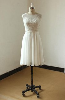 Ivory Sleevless Knee Length Lace Chiffon Wedding Dress With Illusion Neclikine