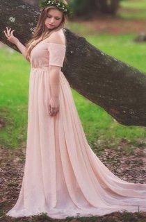 Short Off-the-shoulder Chiffon&Jersey Dress
