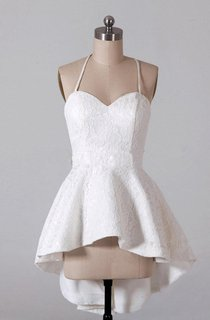 Spaghetti Strapped High-low Lace Dress With Strap Back