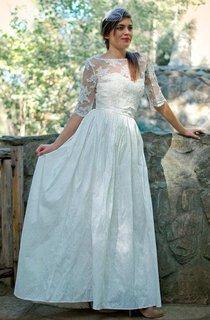Bateau Illusion Half Sleeve Lace Floor-Length Wedding Dress With Low-V Back