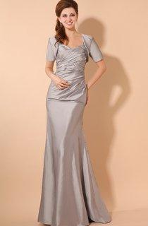 Taffeta Long Maxi Style Dress With Crisscross Ruching