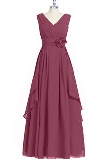 Sleeveless A-Line Chiffon Dress With V-Neck and Flowers