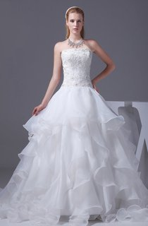 Strapless Ruffled Ball Gown with Appliques and Rhinestone