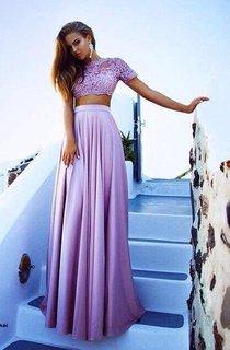 Gorgeous Two Pieces Lace Long Chiffon Prom Dress