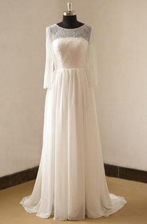 Jewel Neck Long Sleeve A-Line Chiffon Wedding Dress With Open Back