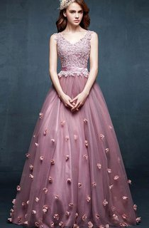 A-line V-neck Sleeveless Appliques Flower Tulle Dress
