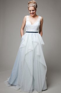 V-Neck Sleeveless Low-V Back Long Tulle Wedding Dress With Sash And Ruffles