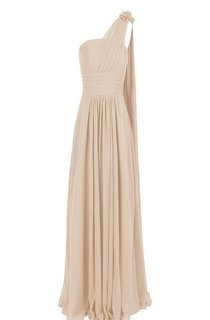 One-shoulder Chiffon Gown With Flower and Pleats