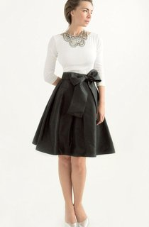 Black Taffeta Knee-length Long Sleeve Dress