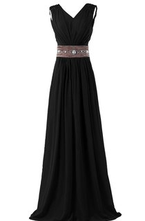 Sleeveless V-neck Long Chiffon Gown With Rhinestone