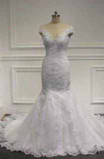 V-Neck Cap Sleeve Lace Mermaid Wedding Dress With Court Train