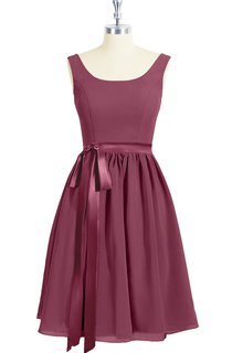 Sleeveless A-Line Chiffon Dress With Square Neckline and Satin Bow Sash