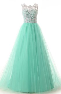 Scoop Necline Lace Bodice Dress With Tulle Skirt