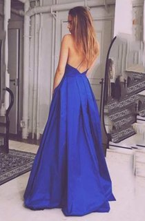 Spaghetti Strap Low V Neck A-line Pleated Long Satin Dress