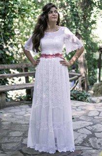Bateau Bell-Sleeve Lace Full Wedding Dress