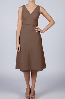 V-neck Pleated Chiffon Bridesmaid Dress