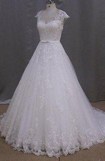 Vintage V-Neck Cap Sleeve A-Line Appliqued Wedding Dress
