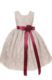 Sleeveless A-line Lace Dress With Bow Tie