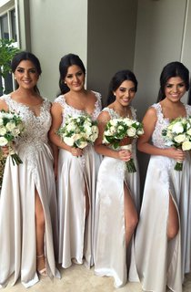 Sexy Lace Appliques Front Split Bridesmaid Dress 2016 A-line Floor-length