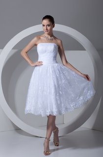 strapless a-line tea-length lace dress with ruching