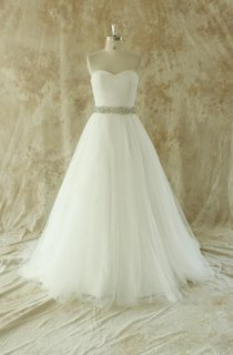 Romantic Ivory a Line Wedding Dress With Beading Sash