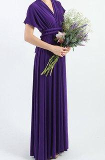 Purple Floor Length Infinity Convertible Formal Multiway Wrap Dress