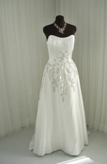 Strapless Long A-Line Satin Wedding Dress Embroidered Floral
