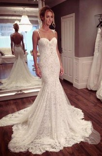 Sexy Mermaid Lace Court Train Wedding Dress 2016 Spaghetti Strap
