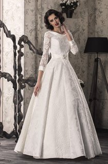 A-Line Lace Satin Weddig Dress With Lace-Up Back