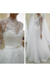 Illusion Long Sleeve High Neck Tulle Ball Gown With Satin Sash and Beading