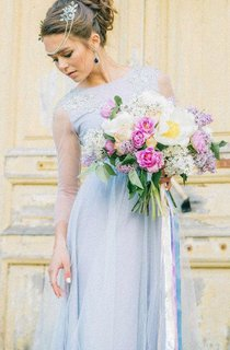 Tulle Floor-Length Dress With Illusion Long Sleeve