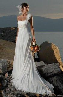 Sheath Column One Shoulder Hand Made Flowers Chiffon Wedding Dress