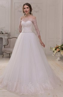 Off-The-Shoulder Lace Illusion Long Sleeve A-Line Tulle Wedding Dress With Beaded Waist