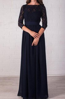 Long Evening Navy Blue Lace Formal Dress