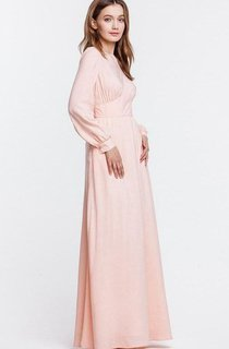 Chiffon Puff Sleeves Maxi Dress