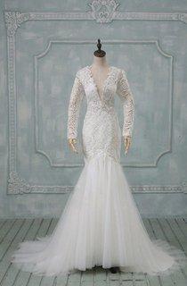 V-Neck Illusion Sleeve Low-V Back Mermaid Long Tulle Wedding Dress