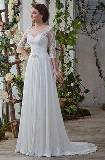 Scoop-Neck Illusion 3-4 Length Sleeve Chiffon Wedding Dress With Sweep Train
