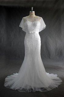 Jewel Neck Tulle Mermaid Wedding Dress With Beading