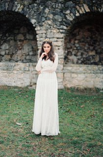 Boho Non-Corset Lace Wedding Dress With Long Sleeves