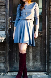 Mini Casual Grey With Circular Skirt Dress