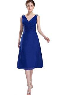 Sleeveless Beaded V-neck Ruched Bodice Midi-length Chiffon Dress