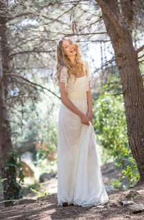 Boho Cape Sleeve Pleated Long Length Lace Dresses With Ruching and Sash