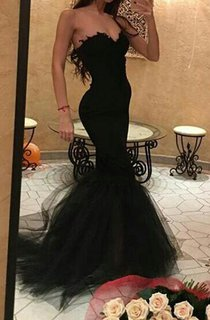 Sexy Black Sweetheart Mermaid Prom Dress 2016 With Ruffles