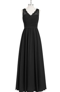 A-Line Sleeveless Chiffon V-Neck Dress With Lace Top and Crisscross Ruching