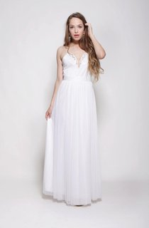 Hippie Spaghetti Strap A-Line Chiffon Wedding Dress With Appliqued Collar