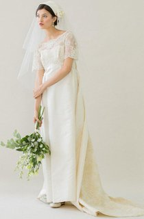 Vintage Bateau Neck A-Line Satin Wedding Dress With Watteau Train