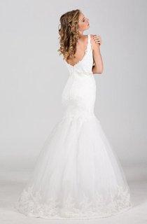 Square Neck Sleeveless Mermaid Lace Wedding Dress With Beading