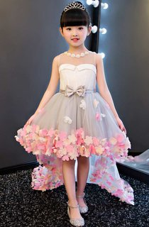 Sleeveless Pearl Neckline High Low Tulle Dress With Flowers