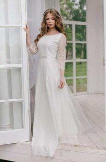 Bateau Lace Illusion Long Sleeve Chiffon Wedding Dress With Ribbon
