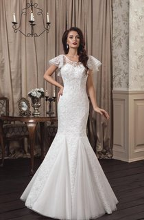 Mermaid Poet-Sleeve Lace Floor-Length Dress With Low-V Back
